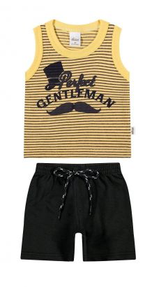 Conjunto Infantil Masculino Amarelo Gentleman Elian