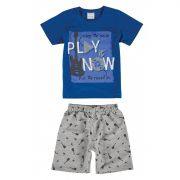 Conjunto Infantil Masculino Azul Royal Play It Now Malwee
