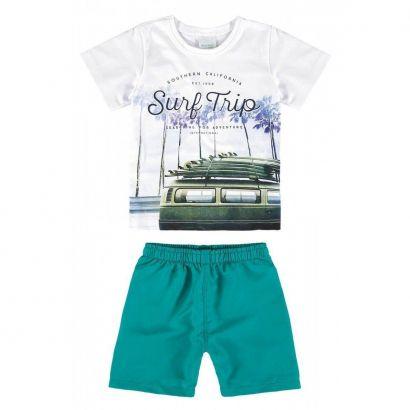 Conjunto Infantil Masculino Branco Surf Trip Malwee