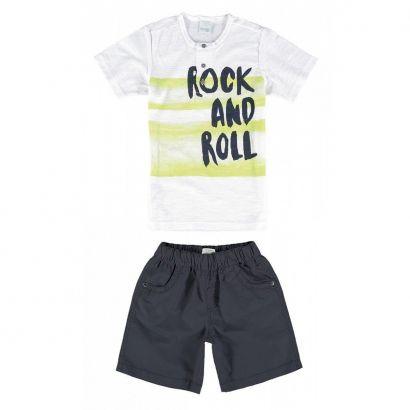 Conjunto Infantil Masculino Branco Rock And Roll Malwee