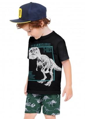 Conjunto Infantil Masculino Short e Camiseta Estampa Dinossauro Preto - Kyly