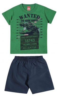Conjunto Infantil Masculino Verde Wanted Elian