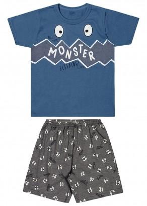 Pijama Infantil Masculino Short e Camiseta Monster Azul - Elian