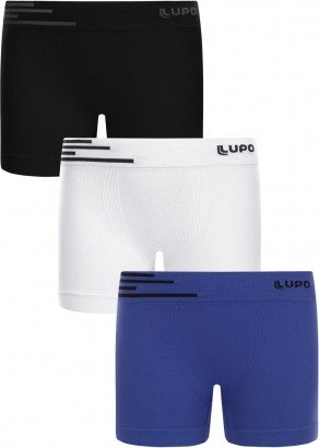 Cueca Infantil Boxer Microfibra Kit 3 cuecas Lupo