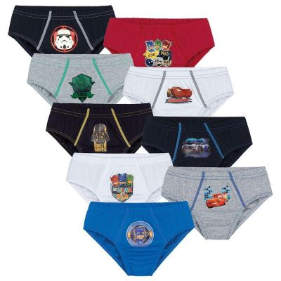 Cueca Infantil Slip Kit 9 cuecas Personagens Lupo