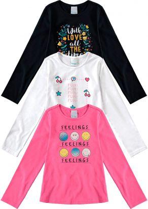 Kit 3 Blusas Infantil Feminina Inverno Malwee