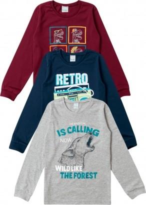 Kit 3 Camisetas Infantil Estampadas Inverno Malwee