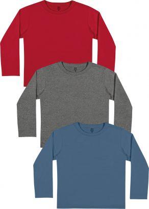Kit 3 Camiseta Infantil Masculina Inverno