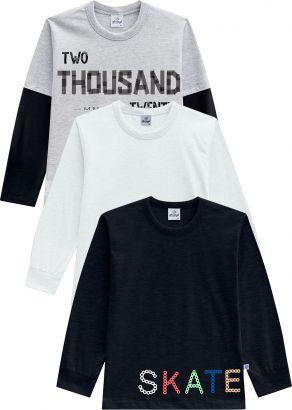 Kit 3 Camiseta Infantil Masculina Inverno Abrange