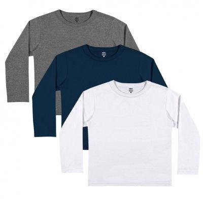 Kit 3 Camiseta Infantil Masculina Inverno Elian