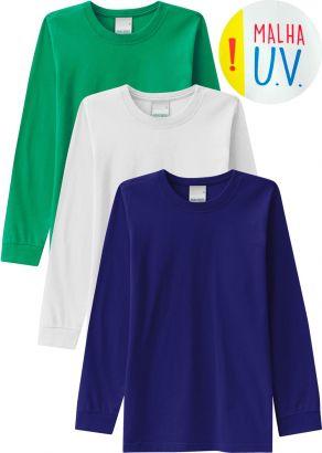 Kit 3 Camiseta Infantil Masculina Inverno Malwee