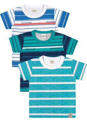 Kit 3 Camiseta Infantil Masculina Listras Elian