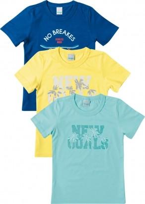 Kit 3 Camiseta Infantil Masculina Malha UV Malwee