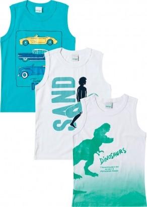 Kit 3 Camiseta Regata Infantil Masculina Dino Malwee
