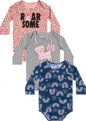 Kit Body Infantil Feminino Inverno Rosa Roar Some - Elian