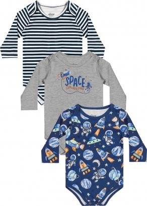 Kit 3 Body Infantil Masculino Inverno Azul Space - Elian