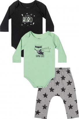 Kit Body Infantil Masculino Inverno Preto Hero - Elian