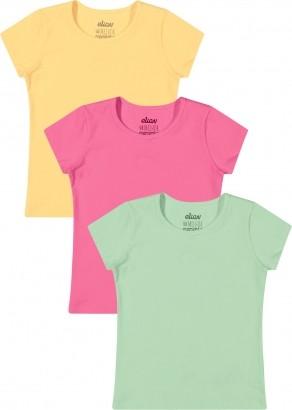 Kit com 3 Blusa Infantil Feminina Elian