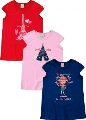 Kit com 3 Blusa Infantil Feminina Paris Malwee