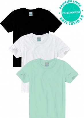 Kit com 3 Camisetas Masculinas Infantil com tecnologia HeiQ ViroBlock Anti Covid 19 Malwee