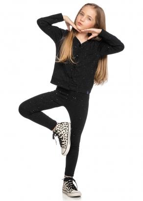 Legging Infantil Feminina Preto Shine - Elian