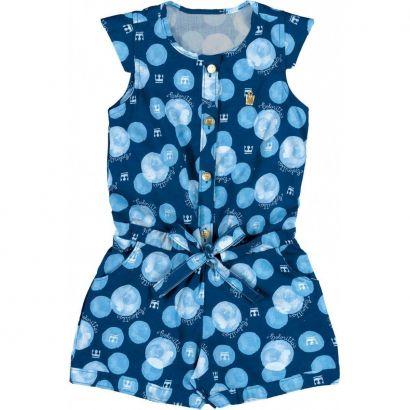 Macaquinho Infantil Azul Botões Colorittá