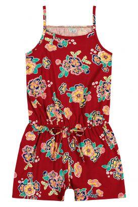 Macaquinho Infantil Feminino Verão Vermelho Flores Elian