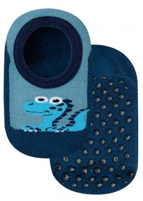 Meia Antiderrapante Infantil Azul Dino Lupo