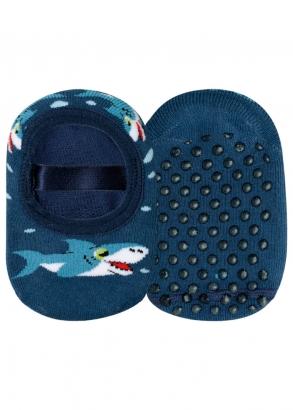 Meia Antiderrapante Infantil Azul Shark Lupo