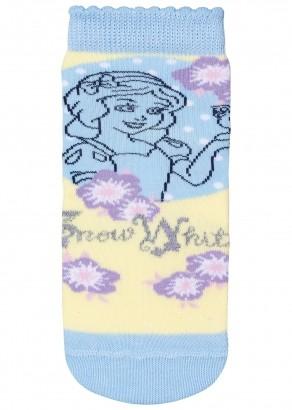 Meia Antiderrapante Infantil Feminina Azul Branca de Neve Lupo