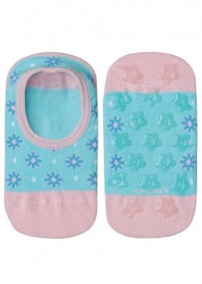 Meia Antiderrapante Infantil Feminina Azul Flor Lupo