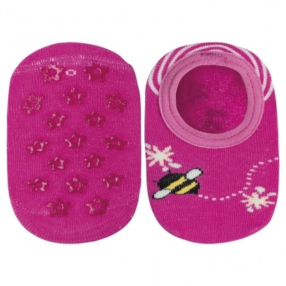 Meia Antiderrapante Infantil Pink Abelha Lupo