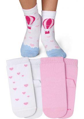 Meia Cano Alto Infantil Feminina Rosa Balão Kit 3 Pares Lupo