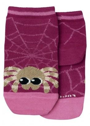 Meia com Cano Infantil Feminina Rosa Cute Spider Lupo