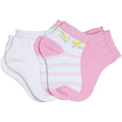 Meia Infantil Feminina kit 3 Rosa Flor Lupo