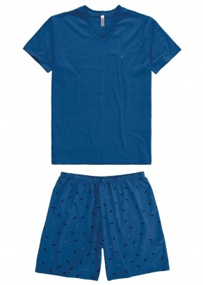 Pijama Adulto Pai e Filho Azul Estampado - Malwee