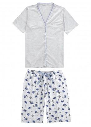 Pijama Adulto Feminino Verão Cinza Flores Malwee