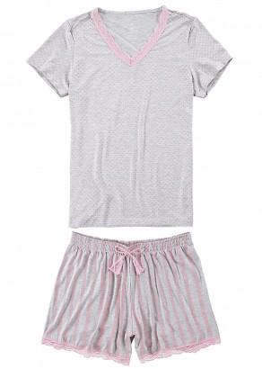 Pijama Adulto Feminino Verão Cinza Poá Malwee
