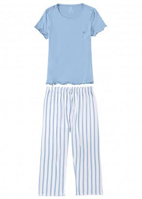 Pijama Adulto Feminino Verão Azul Listras Malwee