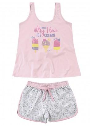 Pijama Feminino Verão Rosa Ice Cream Malwee