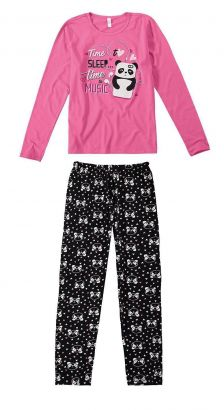 Pijama ADULTO Feminino Inverno Rosa Time Sleep Malwee