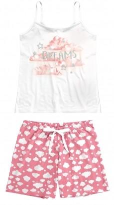 Pijama ADULTO Feminino Verão Branco Nuvem Malwee