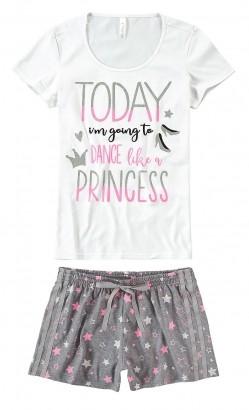 Pijama ADULTO Feminino Verão Branco Princess Malwee