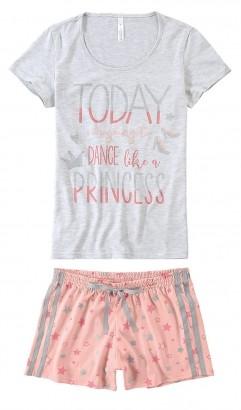 Pijama ADULTO Feminino Verão Cinza Princess Malwee
