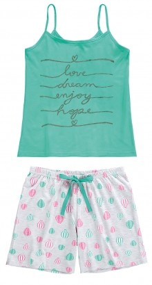 Pijama ADULTO Feminino Verão Verde Balão Malwee