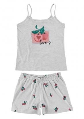 Pijama Feminino Adulto Estampado Cinza Malwee