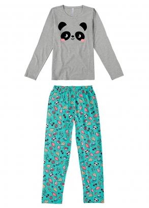 Pijama Feminino Adulto Mãe e Filha Cinza Inverno Malwee