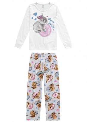 Pijama Feminino Infantil Inverno Branco Coelho Malwee