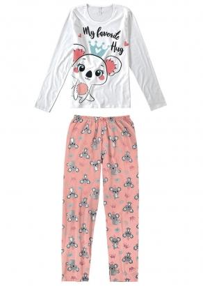 Pijama Feminino Infantil Inverno Branco Hug - Malwee
