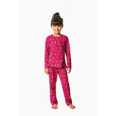Pijama Feminino Infantil Inverno Rosa Raposa Malwee